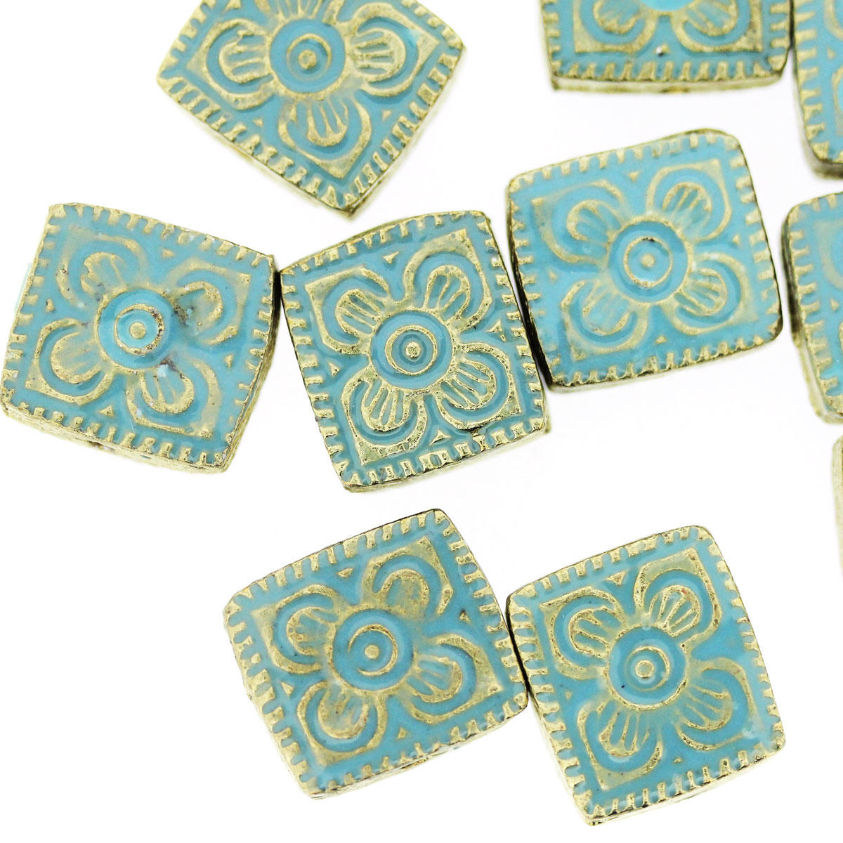 Aqua Bollywood Metal Rectangle Bead