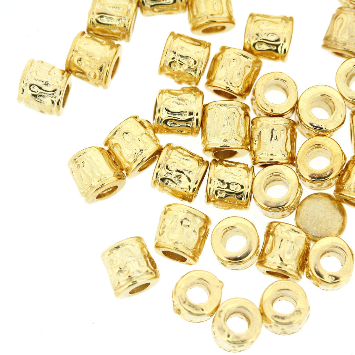 Gold Tube Patterned Metal Bead