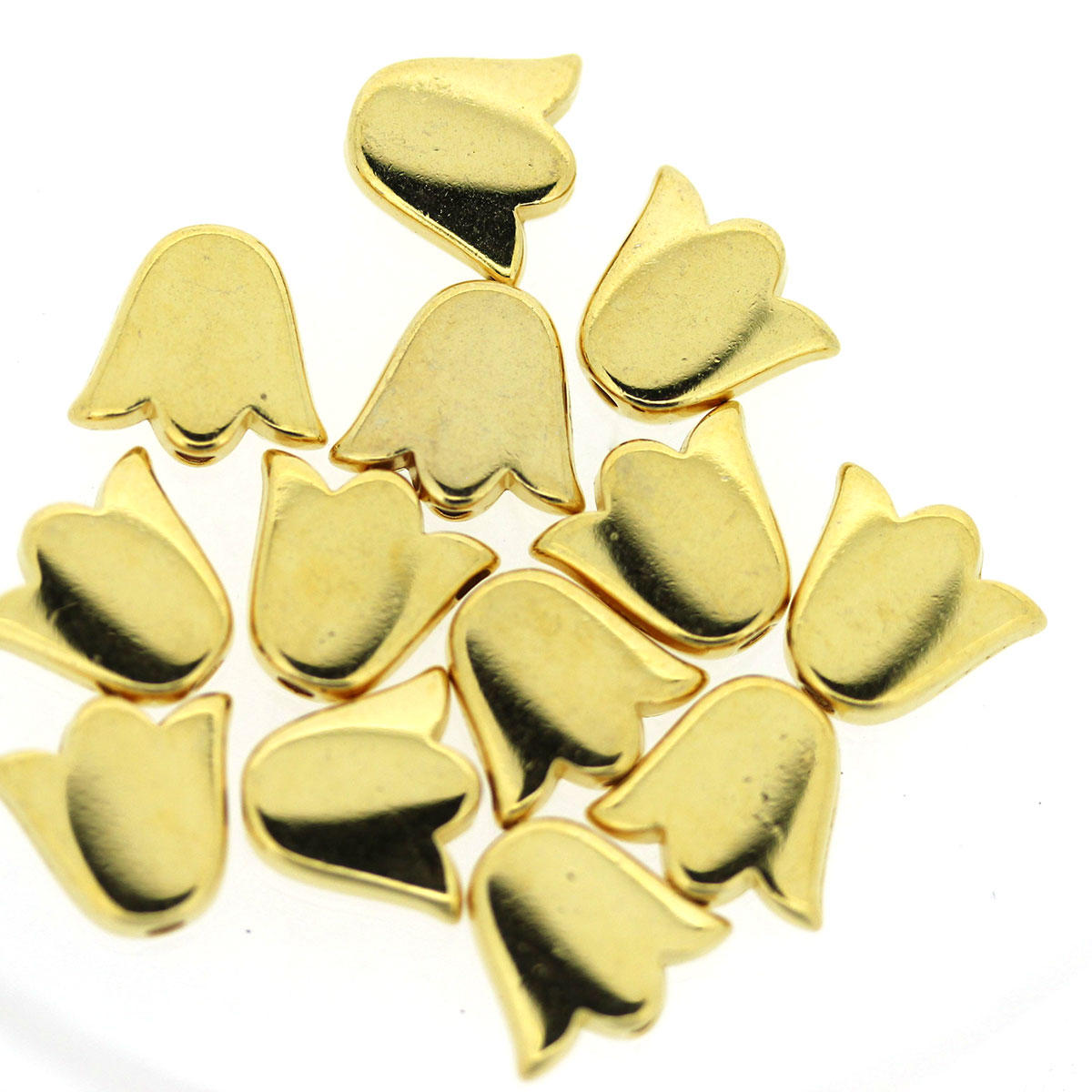 Gold Tulip Metal Beads