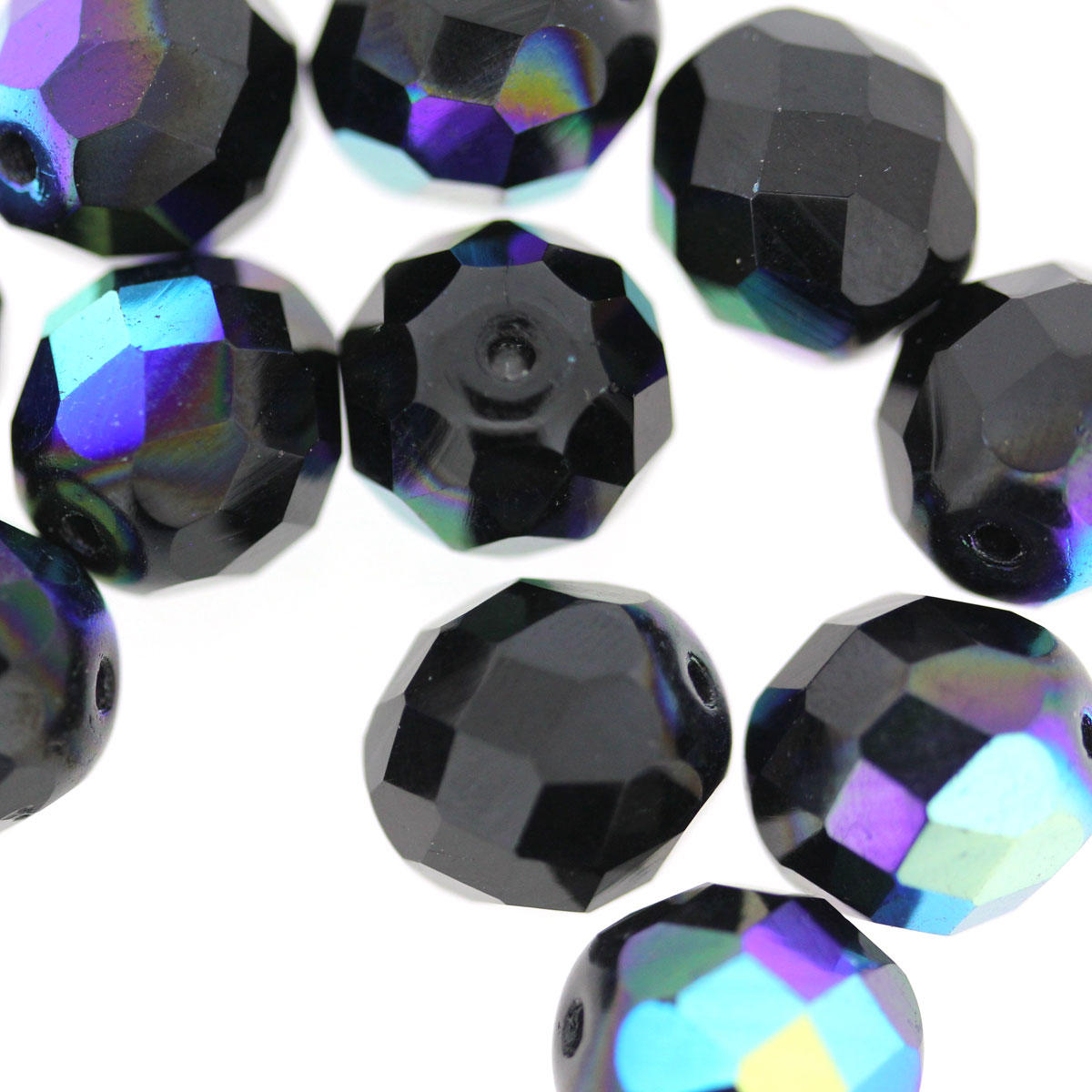 Jet AB 12mm Fire Polished Faceted Glass Bead