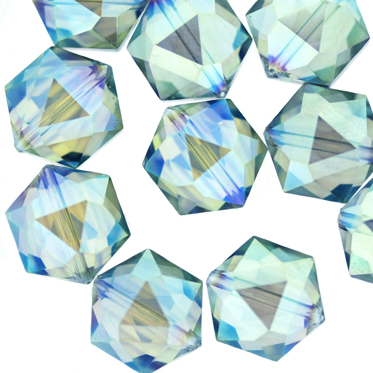 Sea Blue AB Glass Hexagon Beads