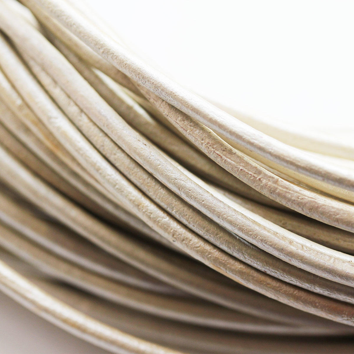 Silvery White 3mm Round Leather Cord