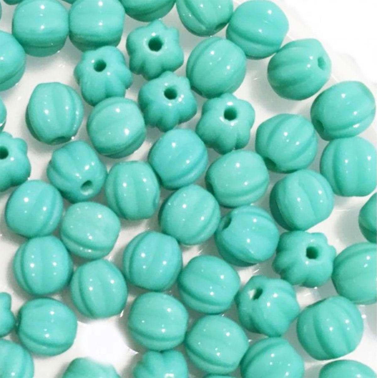 Turquoise 5mm Melon Bead