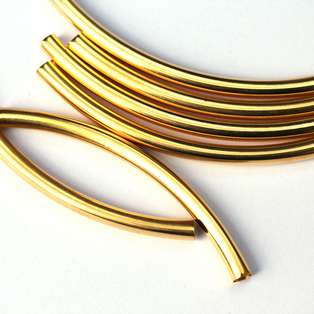 Gold Long Tube Beads