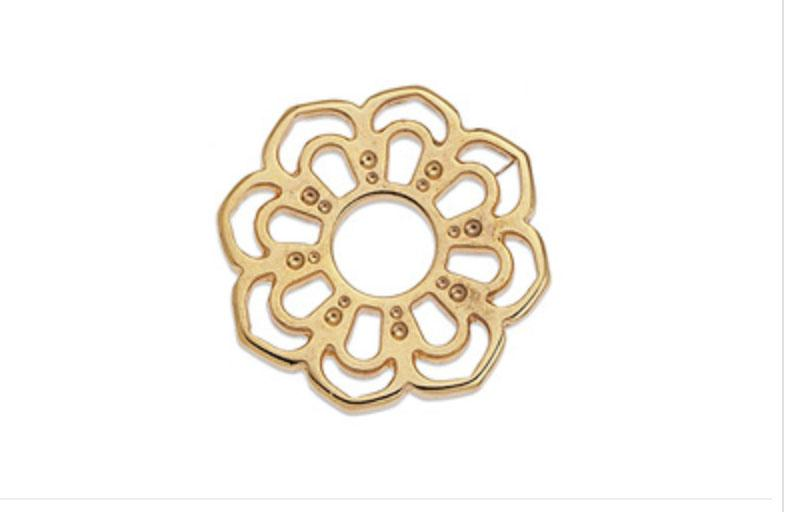 Gold Rotunda flower motif wireframe 24mm