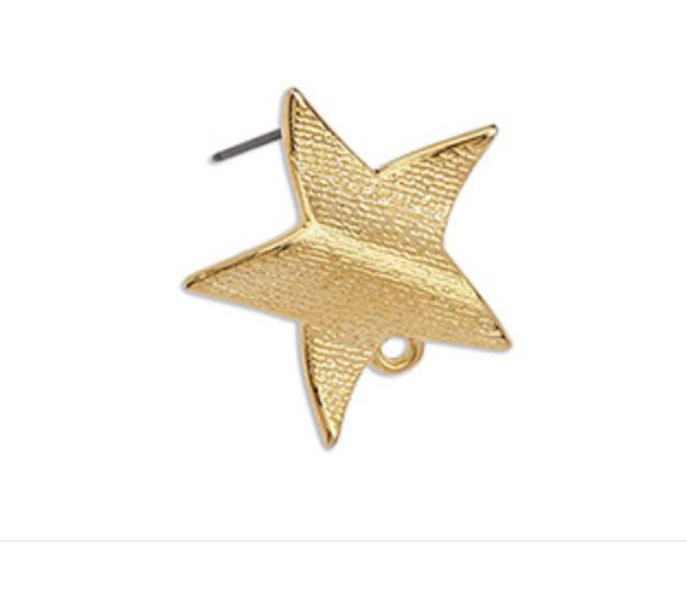 Gold Star Earrings with Loop _ G23