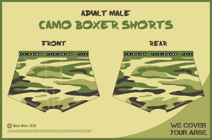 Tackle Bags Adult Male Camo Boxer Shorts