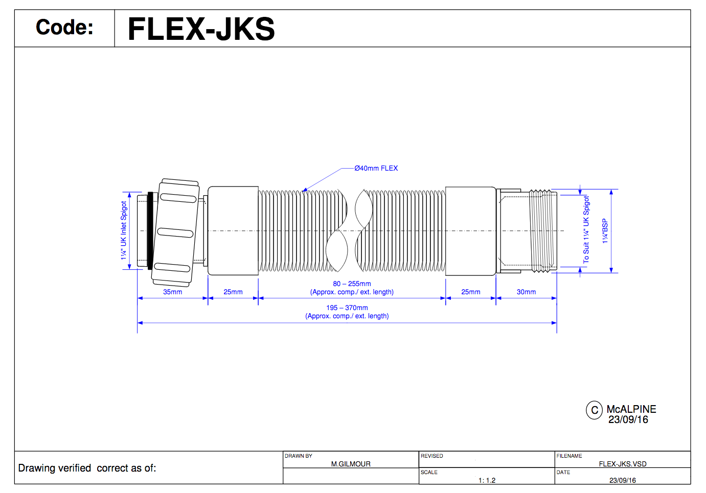 BSP Coupling Nut x Male Thread FLEX-JKS McAlpine Flexible Fitting