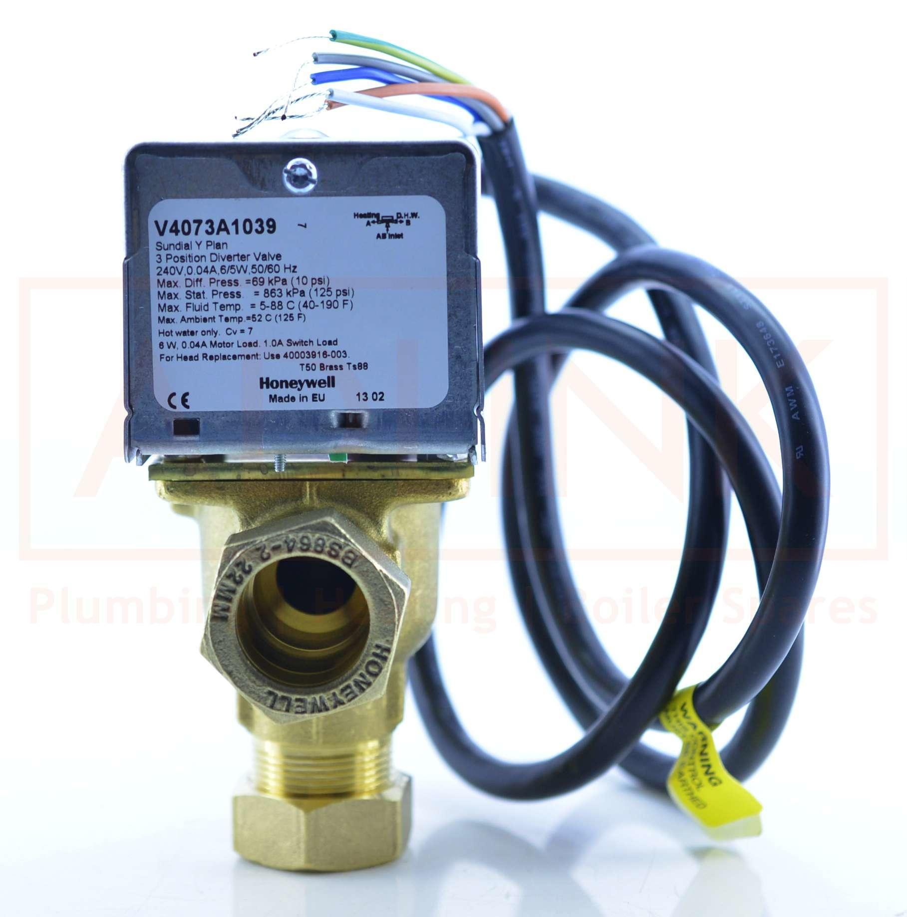 honeywell 3 port valve 22mm 5 wire v4073a 1039 rh adlink co uk