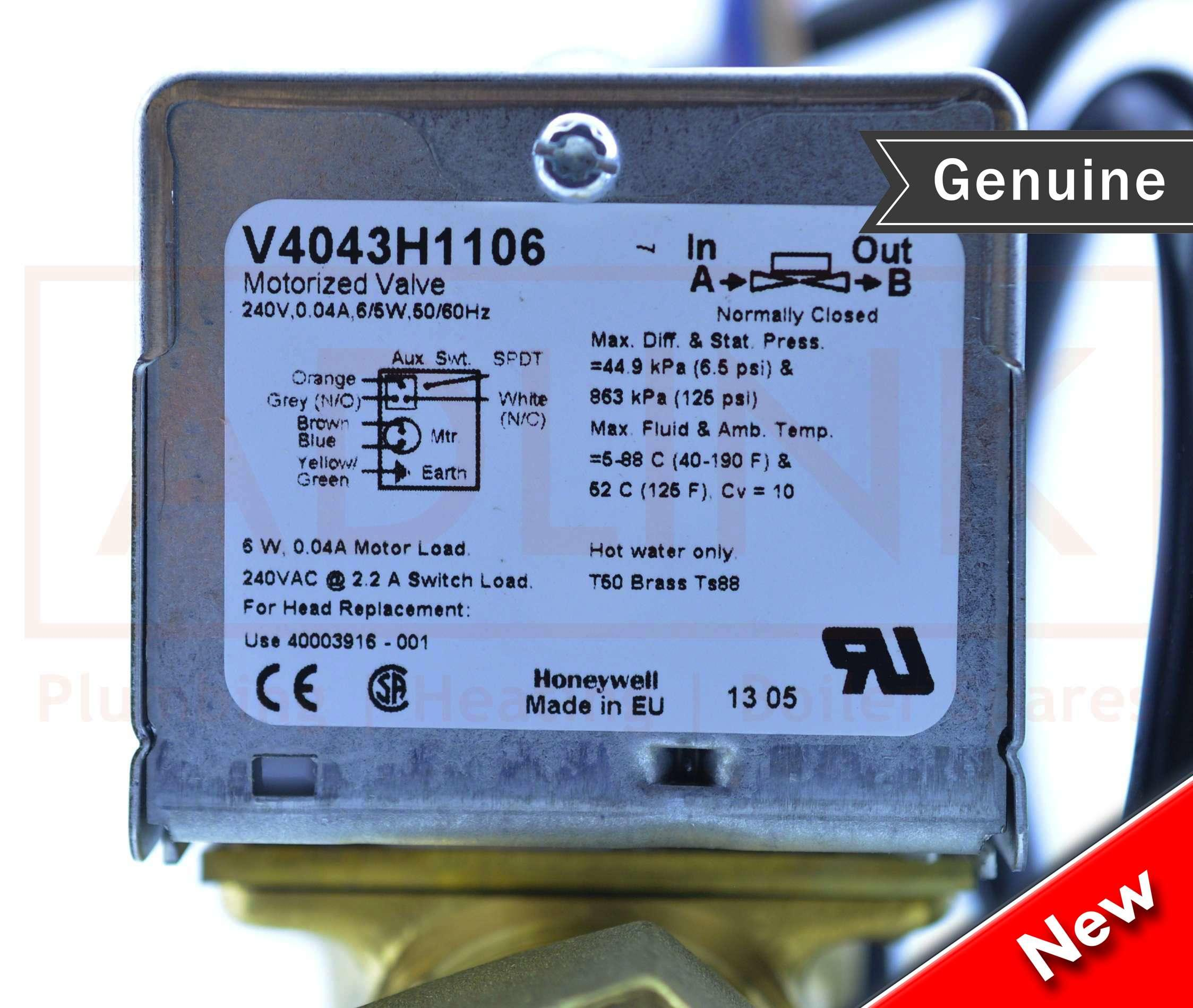 Honeywell Zone Valve 28mm 6 Wire V4043h 1106 Head