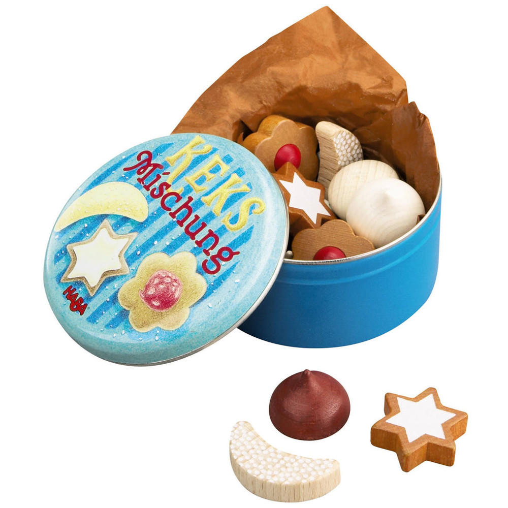 Wooden biscuits in a tin by Haba