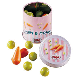 Haba peas and carrots in a tin