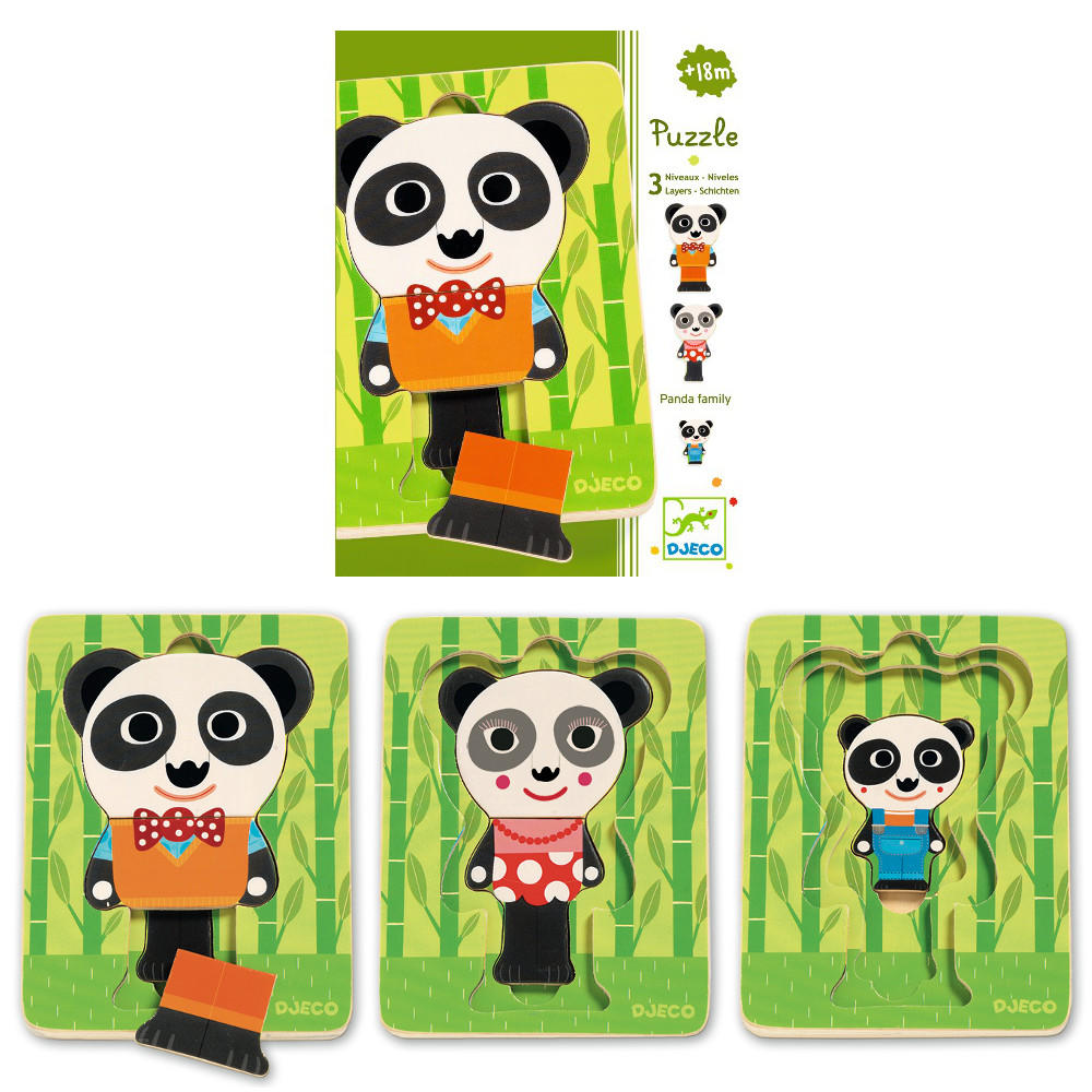 Panda family 3 layer puzzle by Djeco