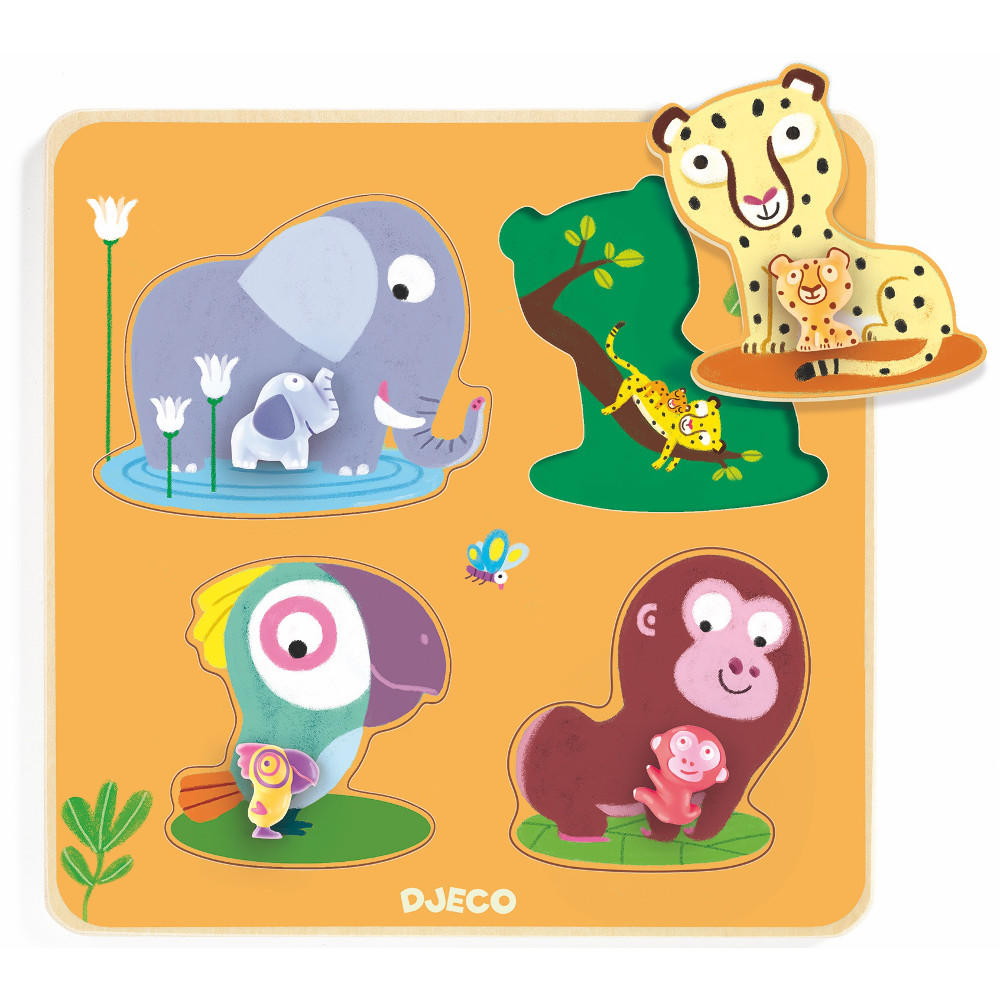 Djeco mamijungle wooden peg puzzle