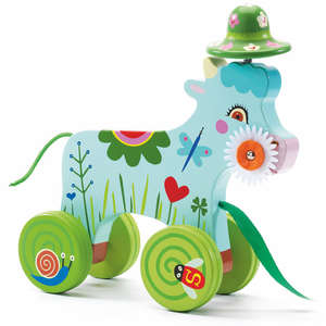 Smily donkey pull along toy by Djeco