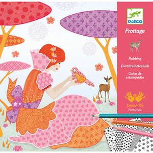 Djeco all my beautiful dresses pencil rubbing craft kit