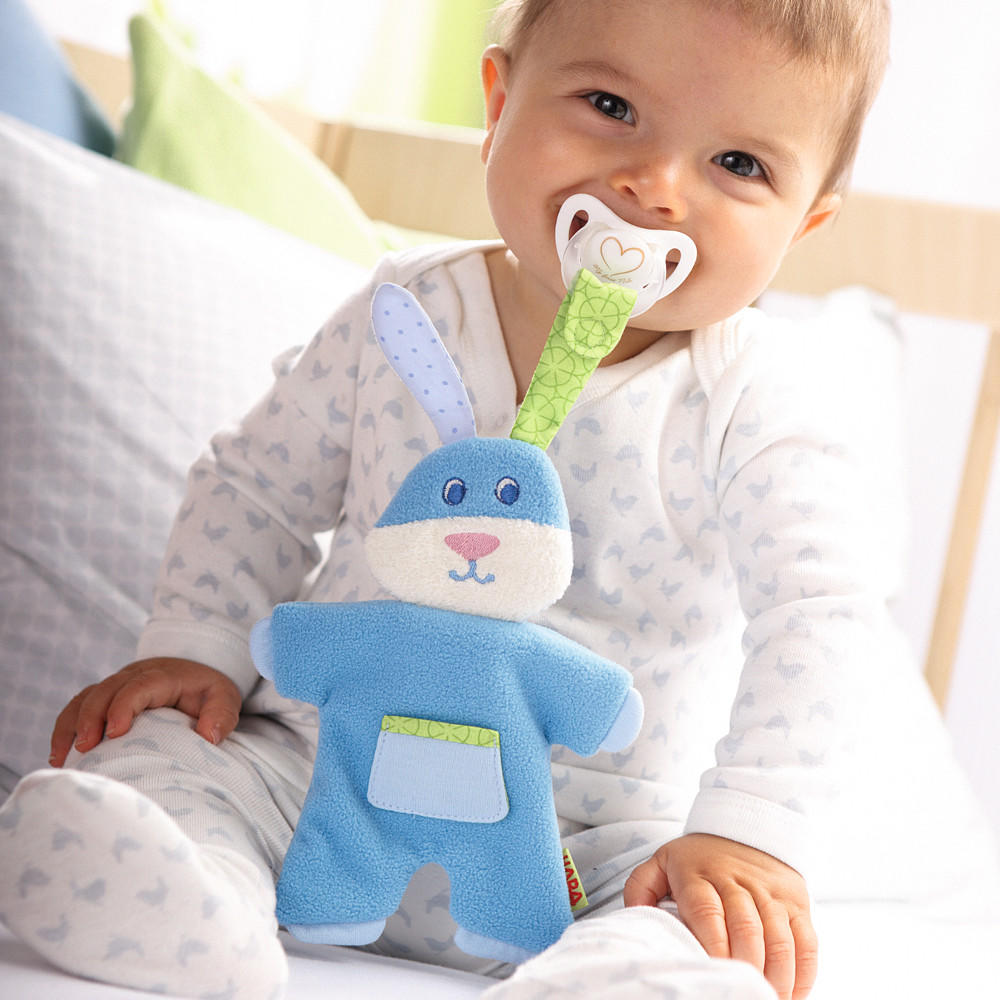 Blue rabbit pacifier holder by Haba