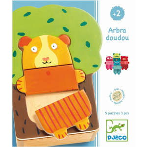 Djeco wooden animals and tree puzzle box