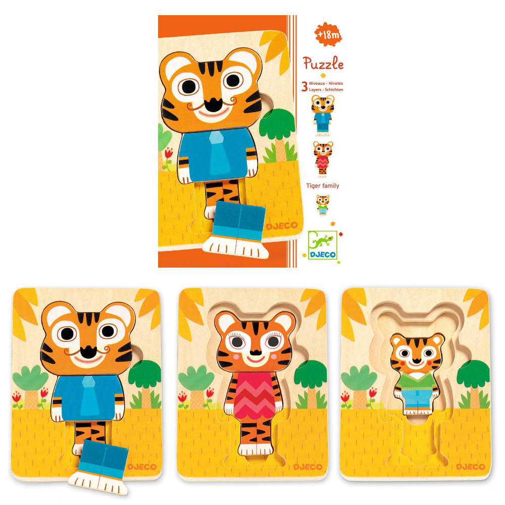 Tiger family 3 layer puzzle by Djeco
