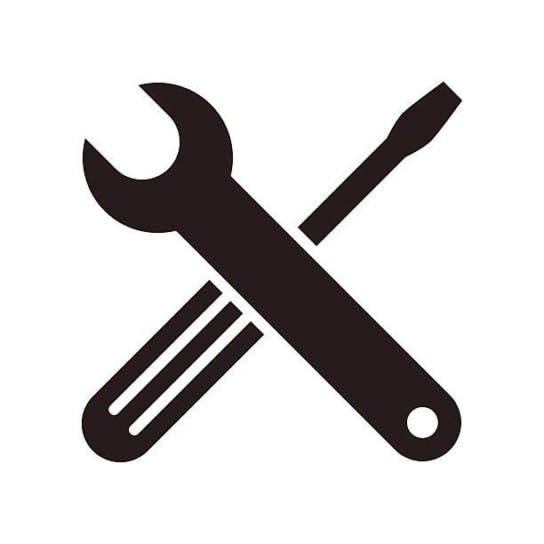 Spanner and screwdriver clip art