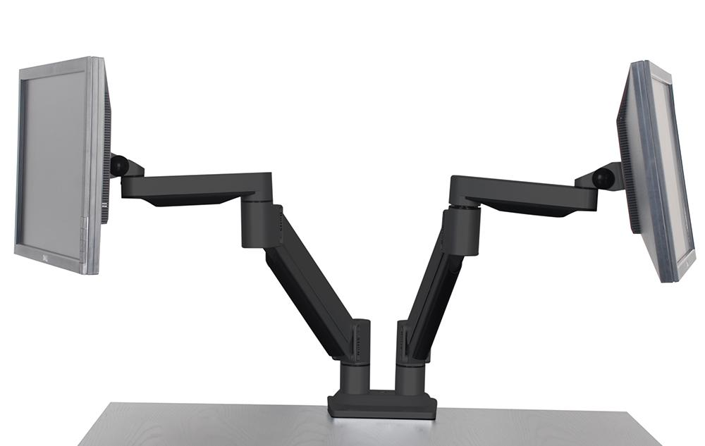 VTArm2 dual monitor arms with screens attached to each one