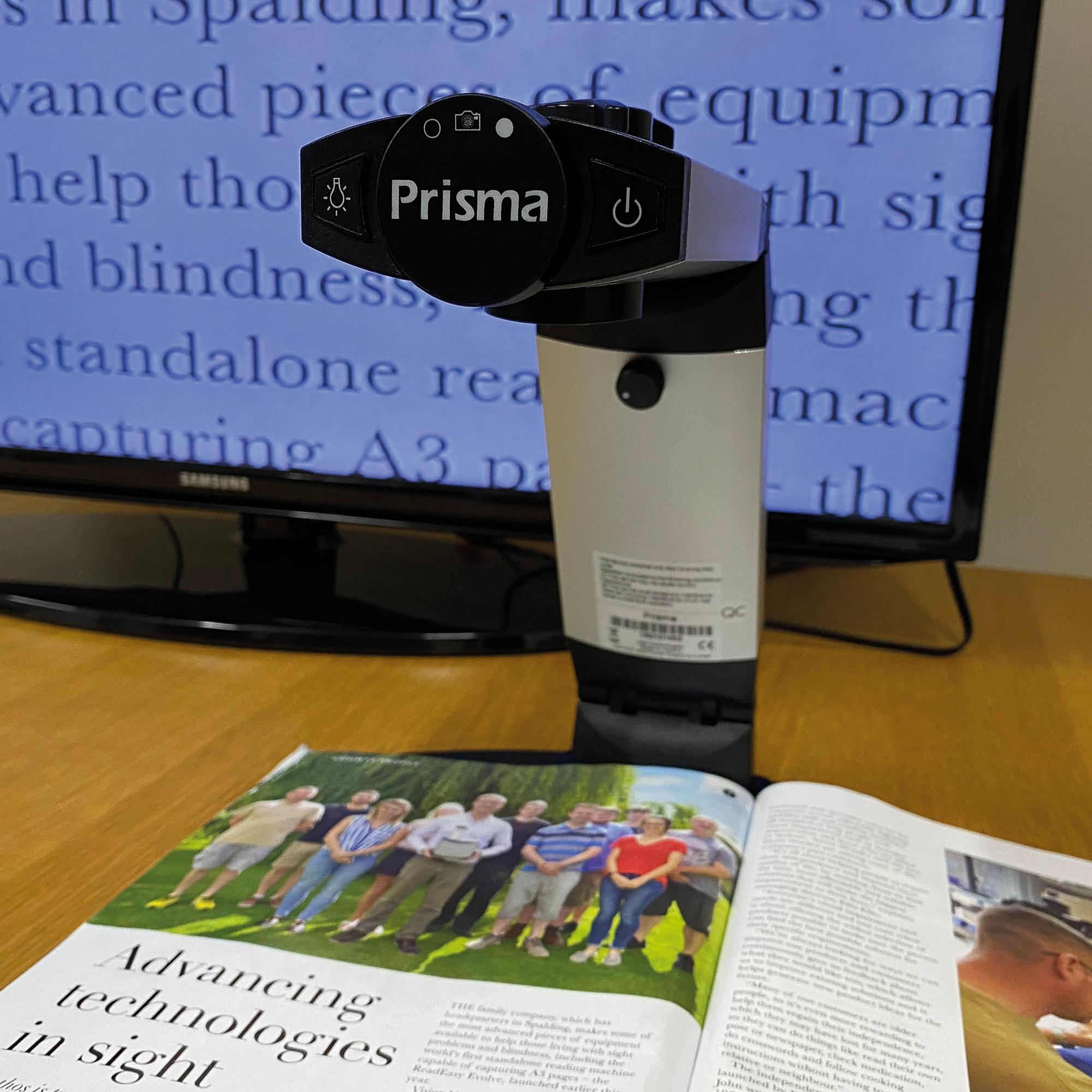 A closer look at the body and head of the Prisma. This stylish, compact device is easily transportable and suitable around the home wherever you can connect a monitor.
