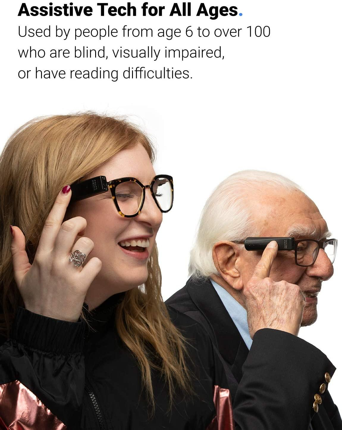 Young lady and older man both using the OrCam MyEye