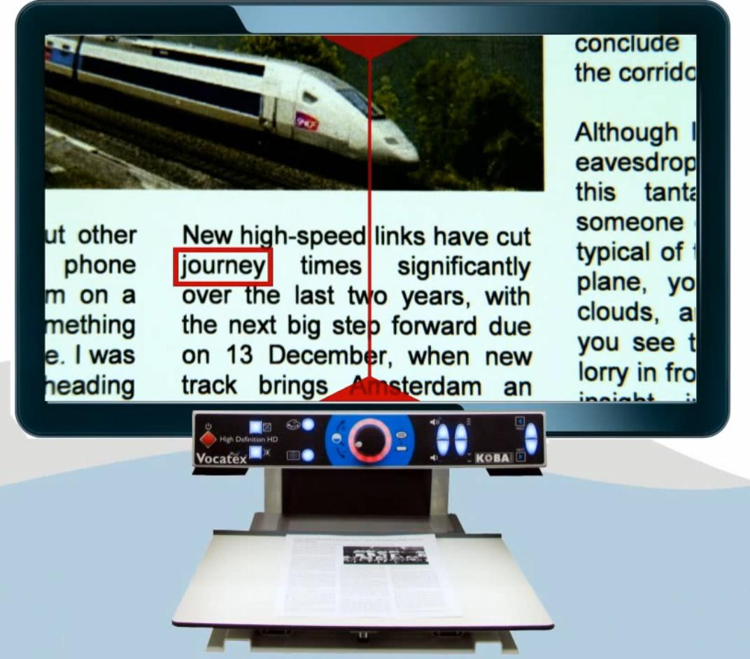 Vocatex Plus with text displayed on its screen