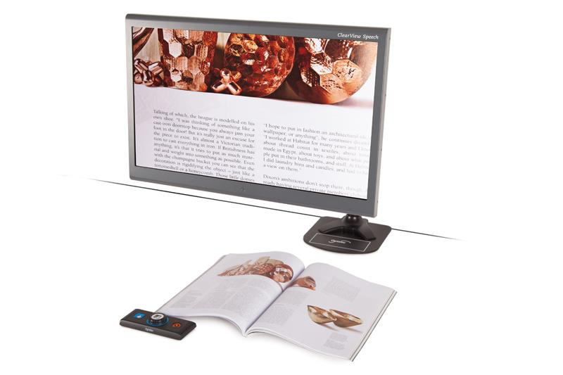 ClearView C Flex Speech with a magazine visable on the screen