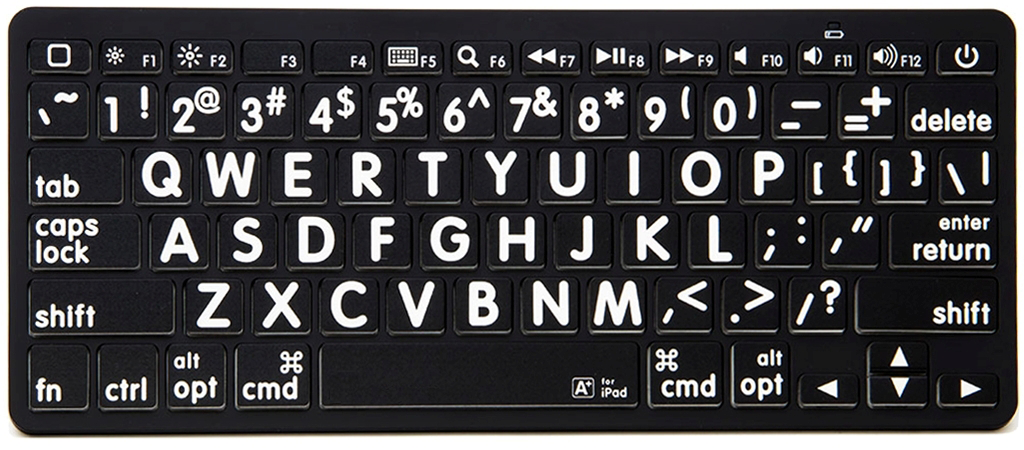 VTKeys Bluetooth with large white letters on black keys