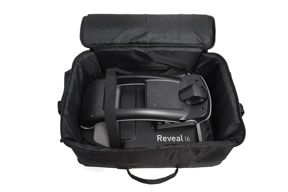 Humanware Reveal 16 carrying case open with a folded reveal 16 inside