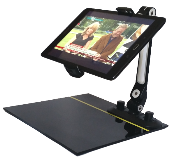 Synapptic portable stand holding a synapptic tablet, on the screen of the tablet there is an image