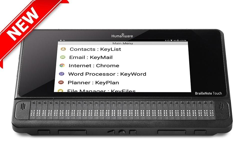 BrailleNote Touch with main menu shown on screen
