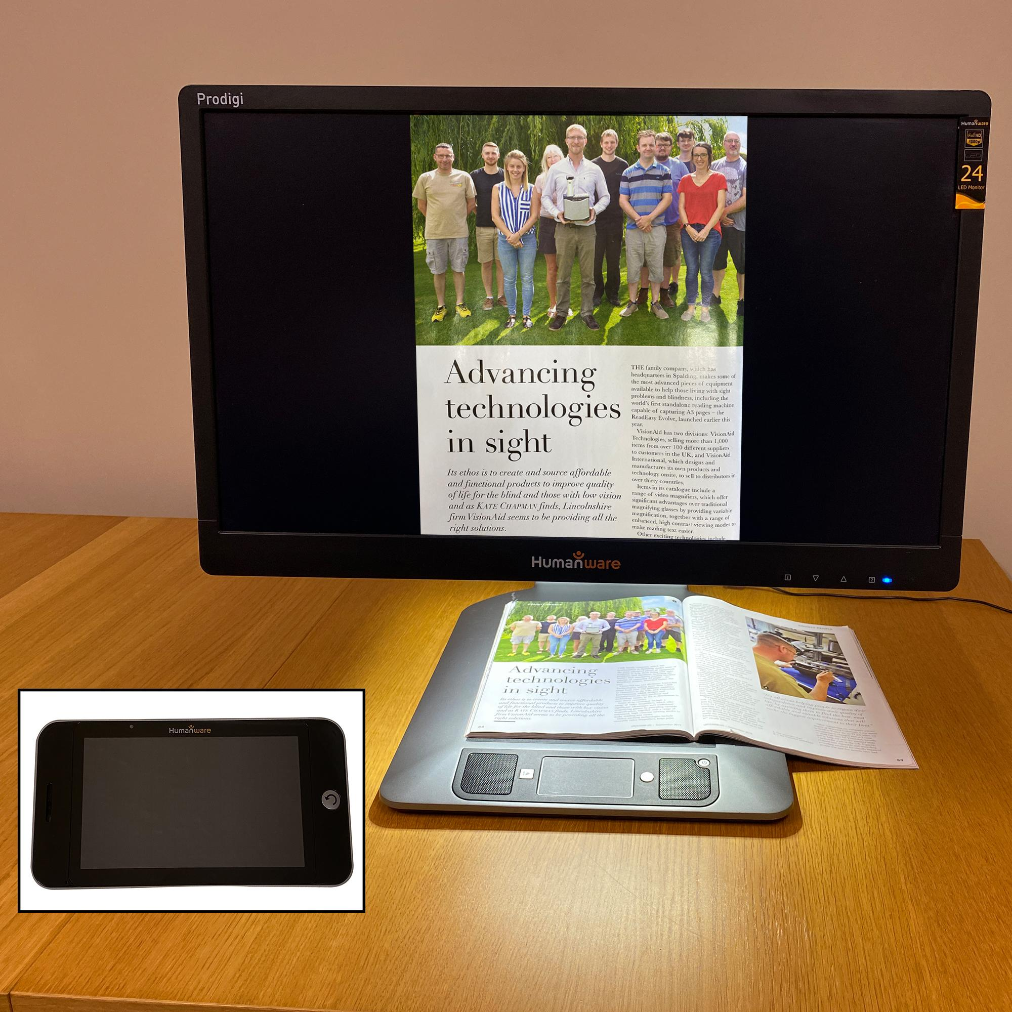 The Humanware Prodigi Duo 24 inch screen, and the accompanying 5 inch tablet.
