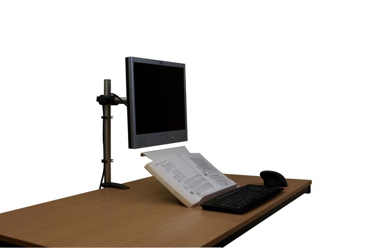 U Turn Document Holder in the book holding position on a desk with a monitor, keyboard and mouse