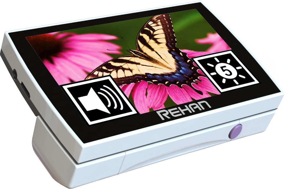 Rehan Looky 5 HD Touch folded with an image of a butterfly on the screen