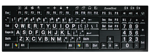 ZoomText Keyboard, white text on black keys