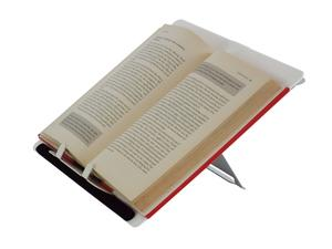Smart Slope Document Holder adjusted to a high position with an open book sat on it.