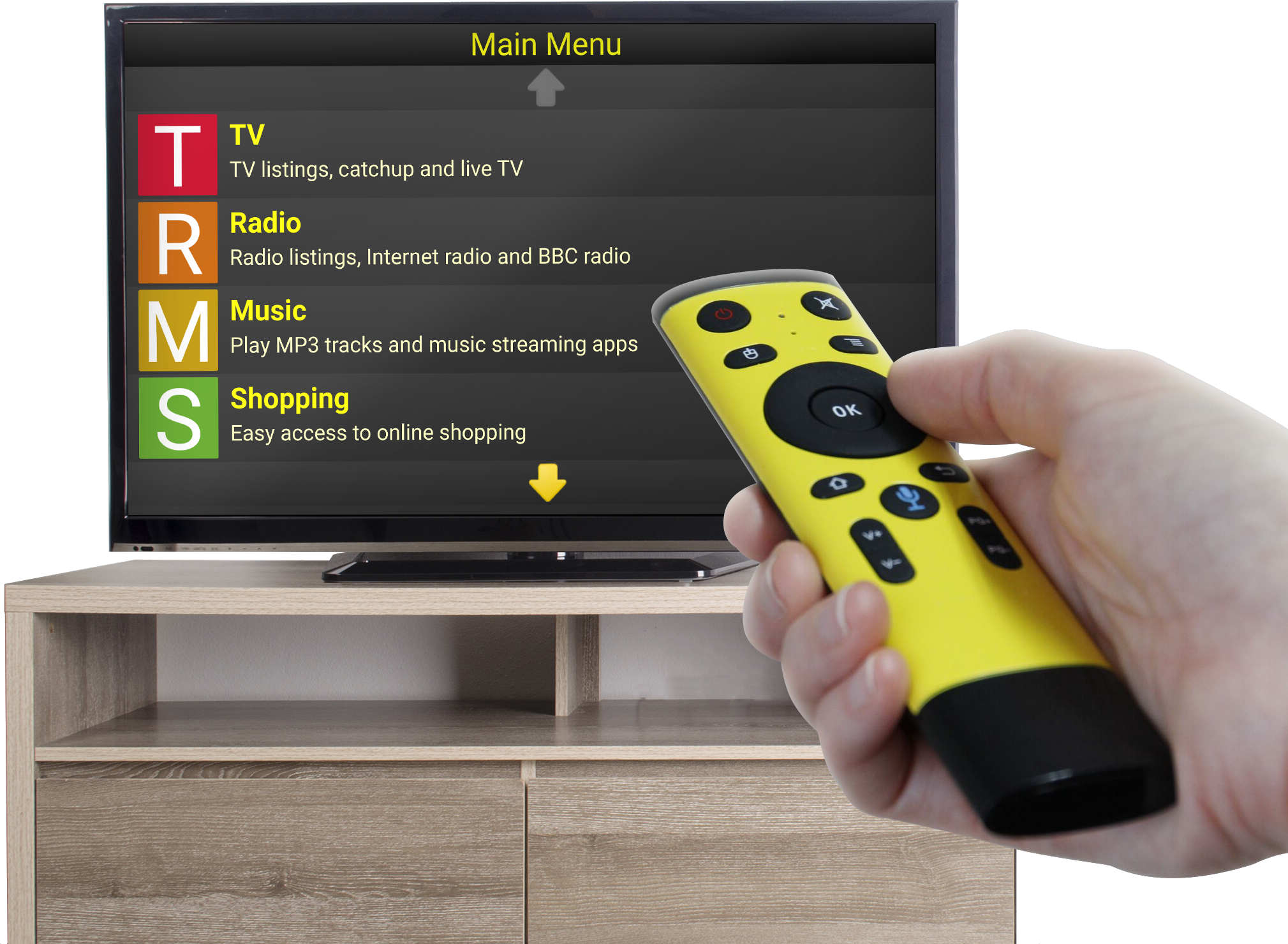 Synapptic TV Box with all accessories shown