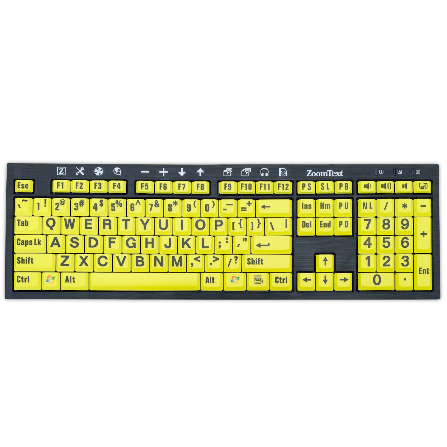 ZoomText keyboard, black text on yellow keys