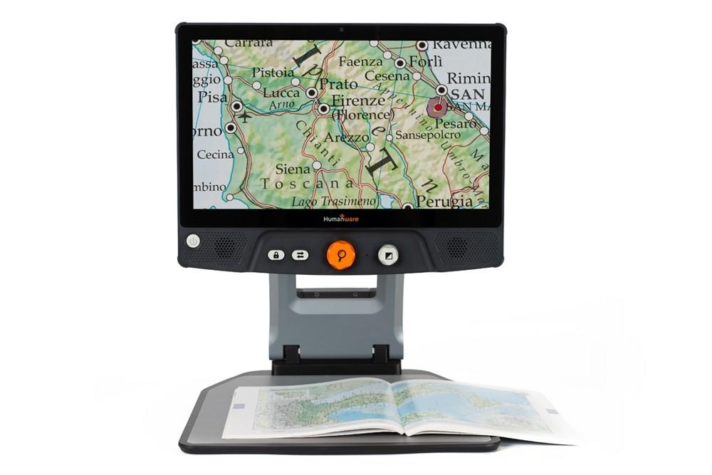 Humanware Reveal 16i Full HD digital magnifier magnifying a map
