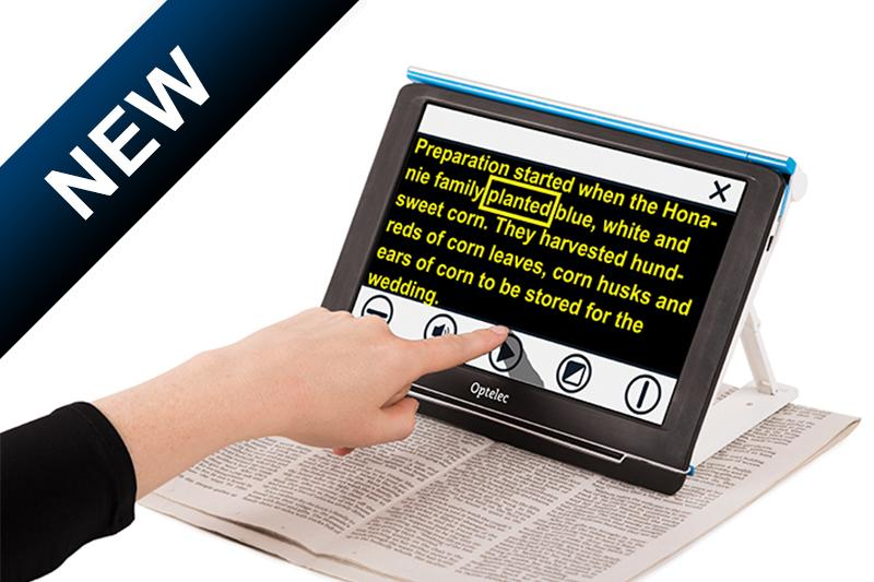 Compact 10 HD Speech magnifing a newspaper highlighing a word as it reads