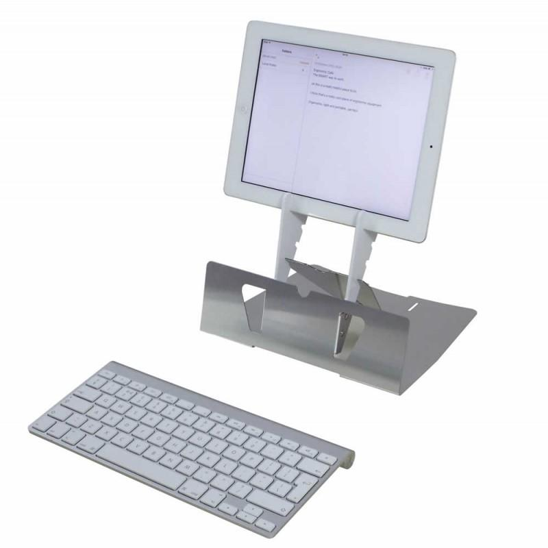 Arrow tablet stand with a wireless keyboard in front