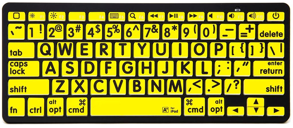 VTKeys Bluetooth with large black letters on Yellow keys