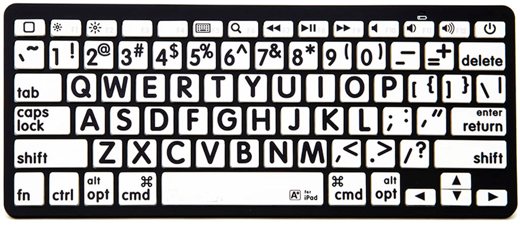 VTKeys Bluetooth with large black letters on white keys