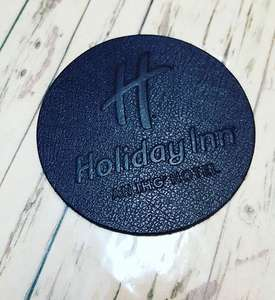 CUSTOM-COASTERS-LEATHERVINYL - Leather & Vinyl Coasters - Custom Branded - CUSTOM-COASTERS-LEATHERVINYL
