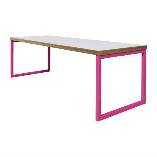 DM658 - Bolero Dining Table White with Pink Frame 7ft - Case of 1 - DM658