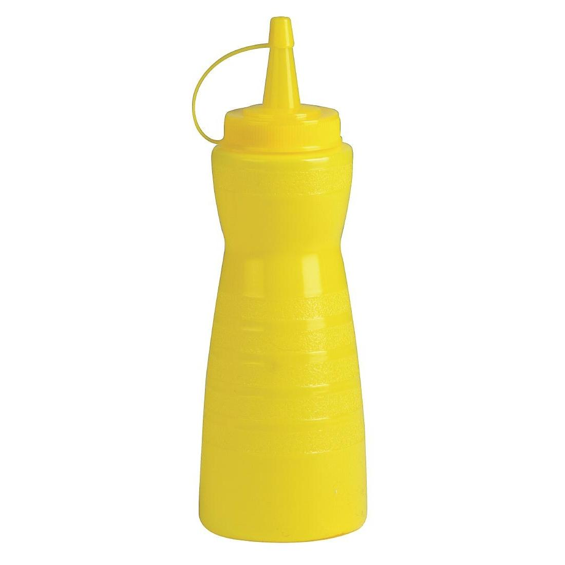 GF252 - Vogue Yellow Lidded Sauce Bottle - Each - GF252