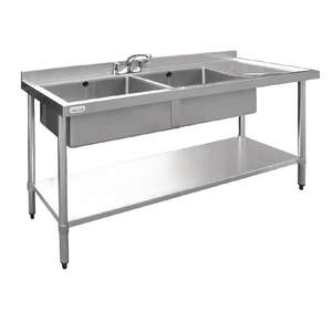 U905 - Vogue Stainless Steel Sink Double Sink with Right Hand Drainer 1500mm - U905