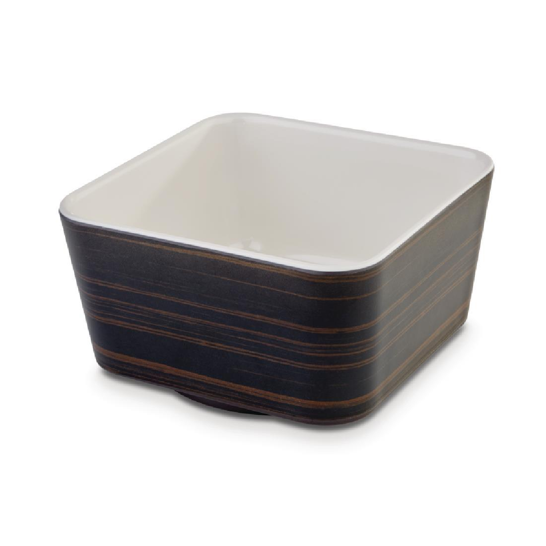 DE569 - APS+ Melamine Square Bowl Oak and Cream 700ml - Each - DE569